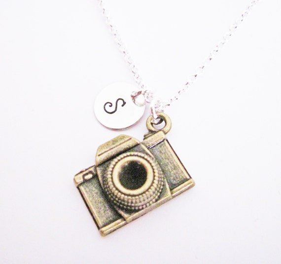 Personalized Camera Necklace, silver photography necklace, initial, mixed metals photographer gift, camera jewelry, photography, initial