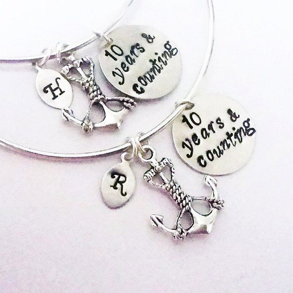 Best friend bracelet set, Personalized Anchor Bracelet, Custom Initial Bangle, 10 years and counting Friendship Jewelry Gift for Best Friend