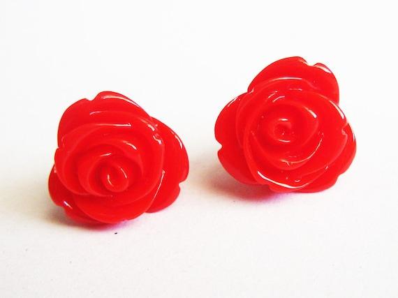 red rose earrings, flower stud earrings, rose earrings, post earrings, red roses earrings, rose jewelry earrings, chrysanthemum earrings