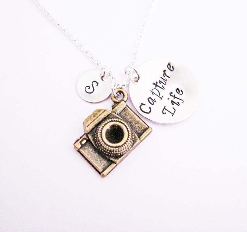 614838bd9975 Capture Life Camera Necklace initial custom photography