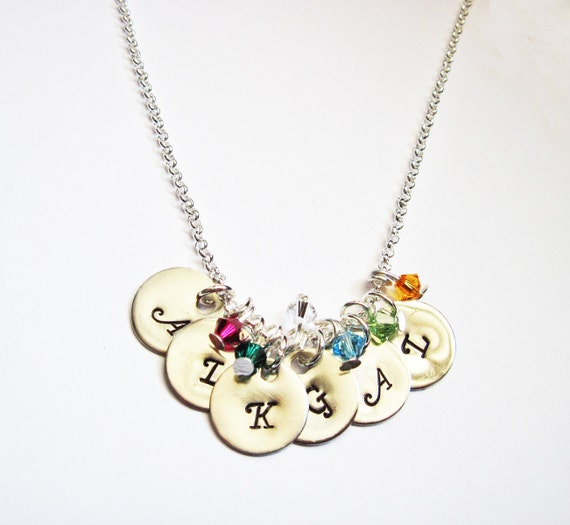 Personalized six Initials Necklace, birthstone Necklace, Mother Necklace, 6 initial Necklace, personalized necklace, initial pendant charm