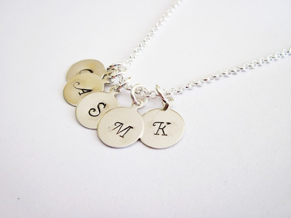 Custom Five Initials Necklace, Hand Stamped initial Charm, Family Initials, Mom of 5 Kids, Kid initial Grandma necklace personalized jewelry