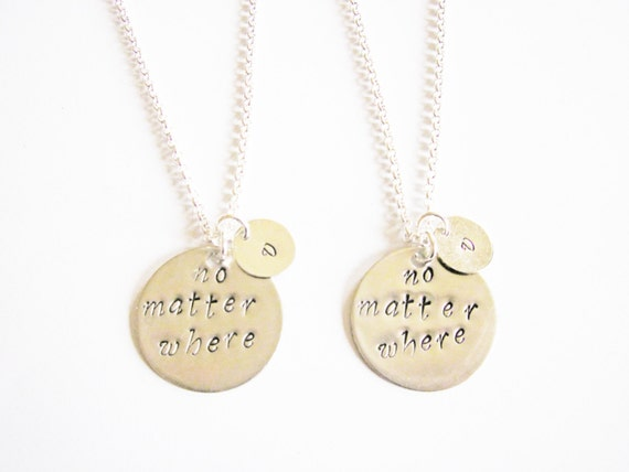 2 best friend necklace long distance initial necklace personalized jewelry gift for best friends best friend jewelry friendship bff necklace