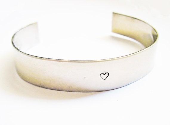 Tiny heart bracelet hand stamped cuff, handstamped bracelet, minimal jewelry, aluminium cuff, silver bracelet, small heart, heart jewellery