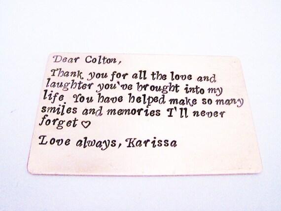 Personalized Copper Wallet Insert , Anniversary Wedding Gift, Gifts for men, 7 Year Anniversary Gift, boyfriend, groomsmen gifts handstamped