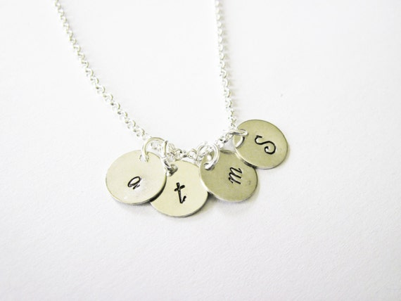 Custom 4 Initials Necklace, Hammered necklace, Family Initials, Mom of four Kids 4, Kid initial Grandma necklace personalized jewelry custom