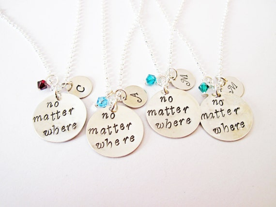 4 best friend necklace, initial necklace, long distance, personalized jewelry gift for best friends four friendship bff necklace birthstone