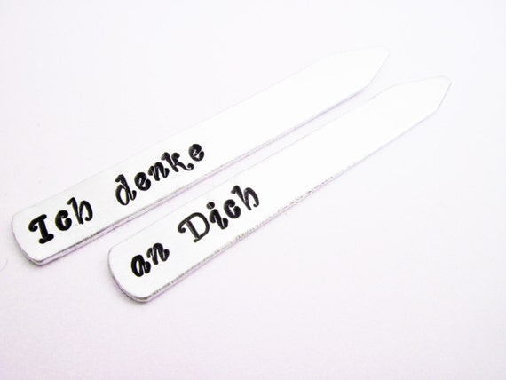 Hand Stamped collar stays Customized Personalized Dad Gift Keepsake Wedding Birthday, gift for men, I think of you, Ich denke an Dich silver