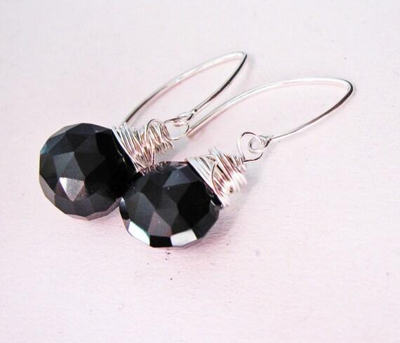 Wire wrapped earrings, sterling earrings, black beads, gemstone earrings, wire wrapped jewelry handmade, chalcedony earrings, black stones