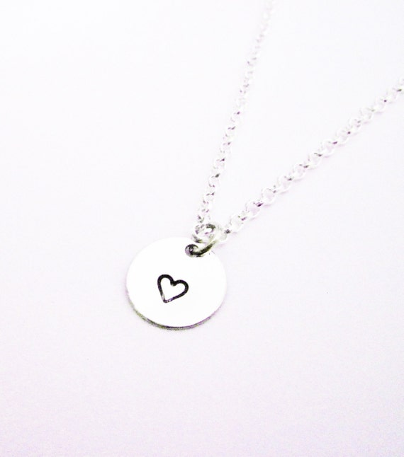 Hand Stamped Heart Necklace, Silver Jewelry, Small Heart Necklace, Hand Stamped Jewelry, Heart Charm Necklace, Heart Pendant, tiny heart