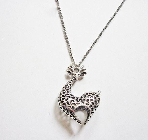 animal jewelry giraffe necklace, giraffe jewelry necklace, animal necklace, heart silver necklace, unique necklace, filigree jewelry, silver
