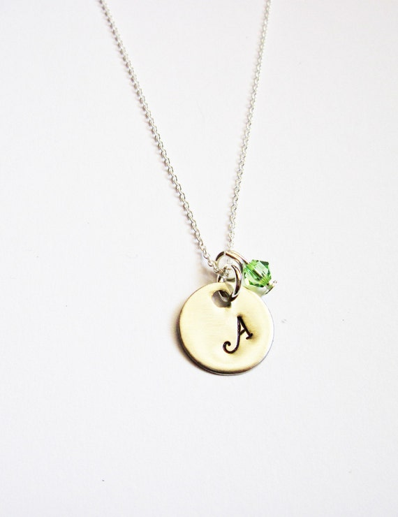 Sterling Initial Necklace. personalized necklace, one disc Sterling Silver necklace birthstone, engraved necklace, hand stamped necklace