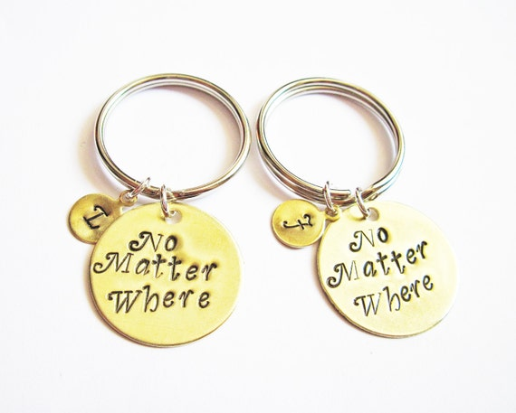 best friend keychain, moving away gift, no matter where Hand Stamped Jewelry Long Distance Graduation keychain Set of 2 initial keychain bff
