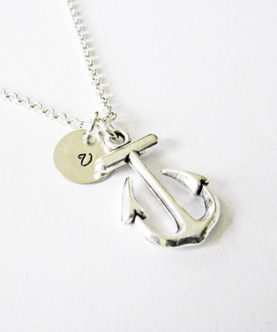 initial necklace, antique silver anchor necklace, anchor pendant, monogram necklace, ahoy nautical charm necklace, personalized necklace