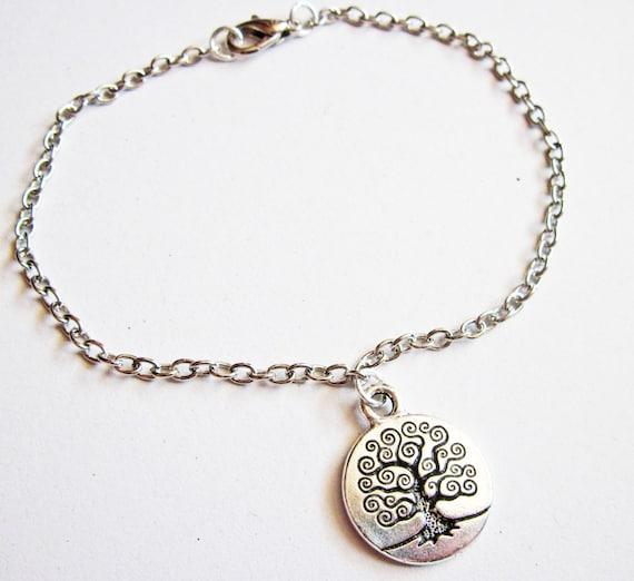 tree of life bracelet, silver bracelet, silver tree bracelet, tree jewelry, tree charm bracelet, layering bracelet, thin bracelet, edgy