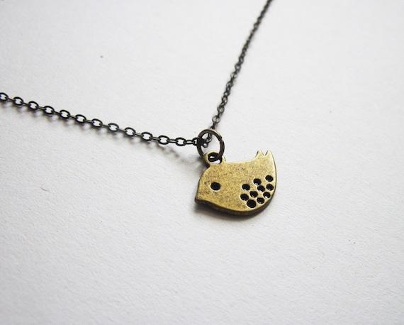 Little Bird Necklace, brass bird necklace, bird charm, on plain chain, love bird charm, lovebird, twitter bird, bird jewelry necklace