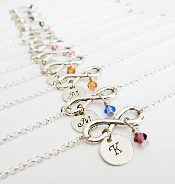 Bridesmaids infinity initial bracelets birthstone jewelry, set of twelve, 12 bracelets, silver infinity, friendship jewelry, personalized