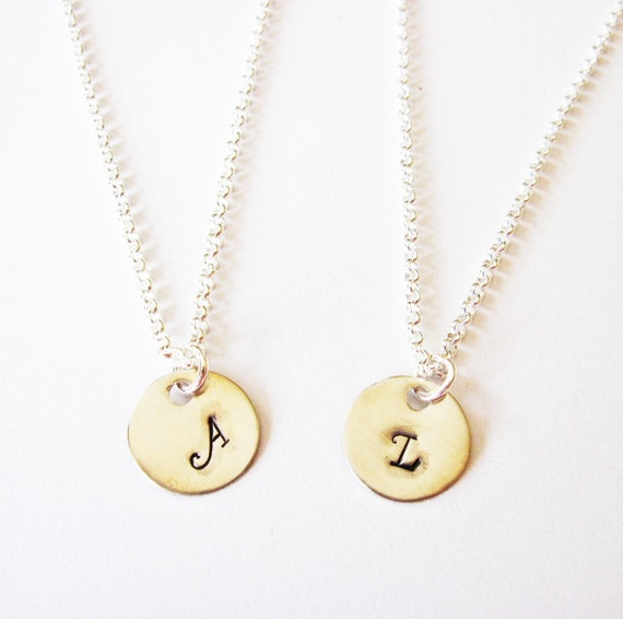 personalized initial necklace, friendship necklace set of 2, disc necklace, bridesmaid gift, gifts for best friends bff silver jewelry tiny