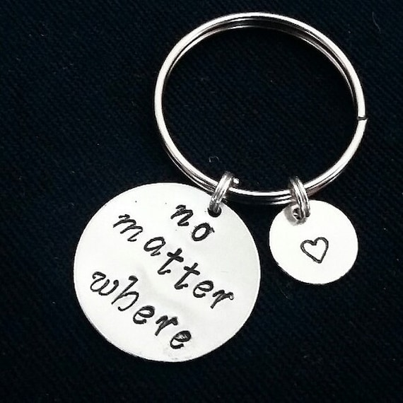 No matter where keychain, no matter where charm, quote keychain, personalized keychain, initial keychain, customized initial, monogram charm