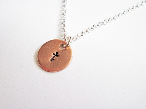 Initial Necklace - personalized necklace, one disc Silver necklace, engraved monogrammed necklace, copper necklace, mixed metals, initial