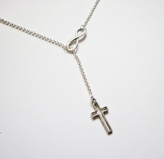 Infinity Necklace Cross and Infinity Necklace, Y Necklace, lariat necklace, silver infinity necklace, cross necklace, infinity cross jewelry