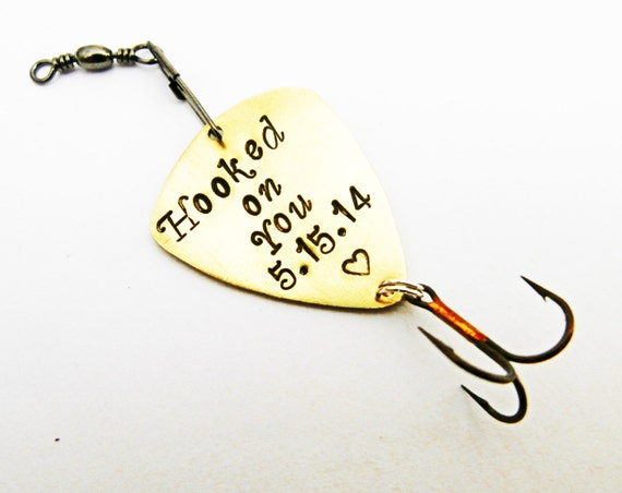 Custom Fishing Lure, Mens Personalized Fishing Lure Hooked on You, Copper Aluminum Brass Anniversary Fiancé Husband Boyfriend gift, spoon