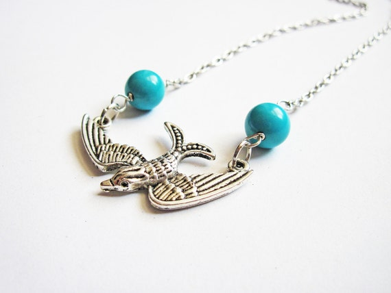Silver Bird Necklace, Turquoise Necklace, Swallow Necklace, Bird Jewelry, Bird Beaded Necklace, Bird and Stones, Light Blue Bird Necklace