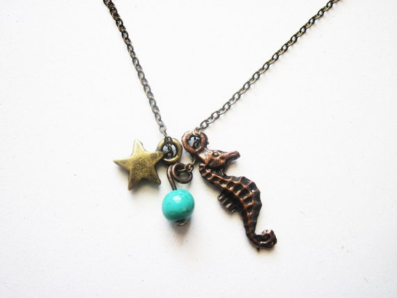 beach necklace, nautical necklace, brass jewelry, seahorse necklace, starfish sea ocean charm, summer necklace, marine jewelry necklace