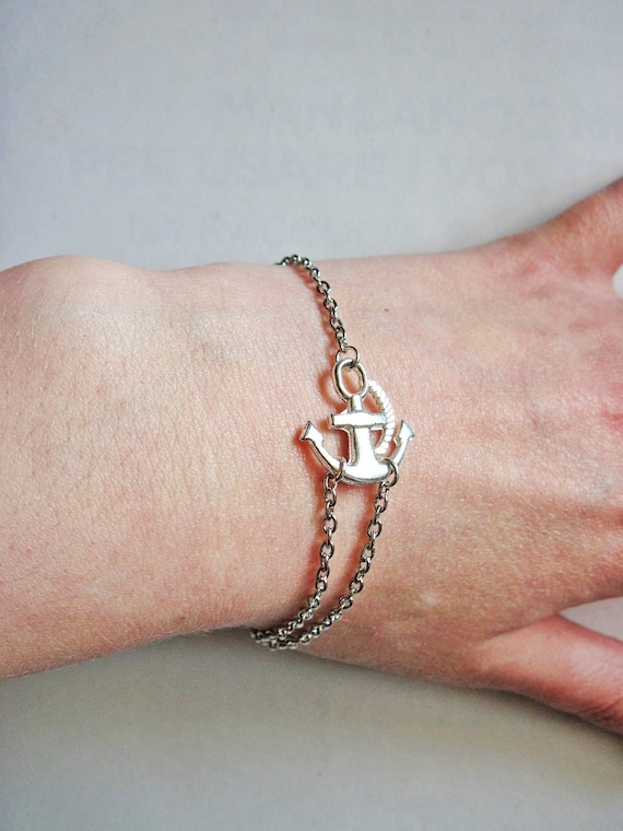 Sideways Anchor Bracelet, Antique Silver Bracelet, Anchor Jewelry, Anchor Silver Bracelet, Anchor charm on Silver plated chain, double chain