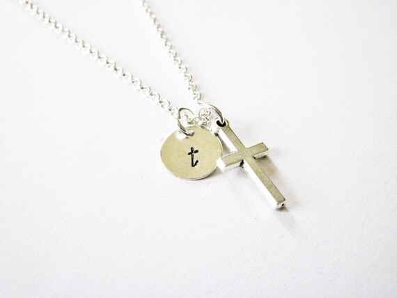 Personalized Cross Necklace, Silver Initial, Little Dainty Cross Charm, Faith Necklace, cross jewelry, Baby Jewelry, Initial Necklace custom
