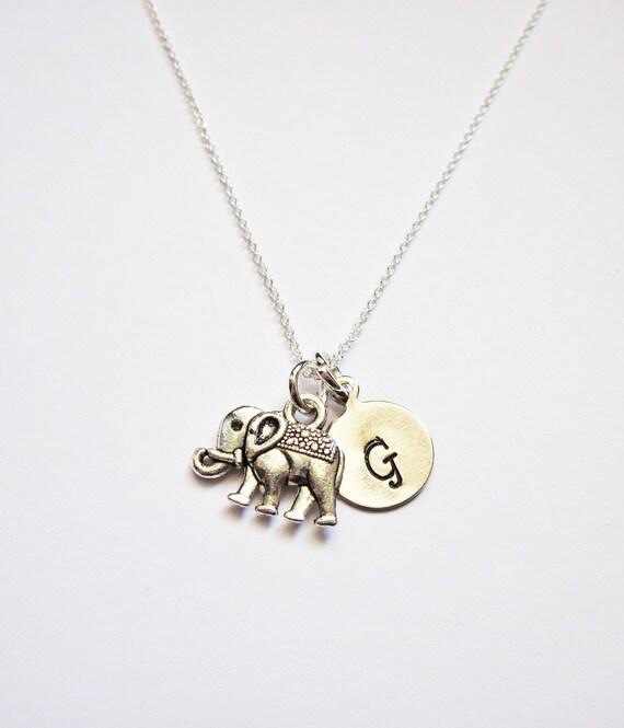 Tiny Sterling Silver Elephant Necklace personalized elephant necklace on Sterling Silver Fine Chain Sterling silver Necklace initial jewelry