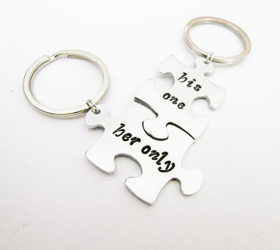 Anniversary Gift, His one Her only, Wedding Gift, Couples Keychains, Couples Puzzle Keychains, Couples Gift, Husband Wife Gift, jigsaw charm