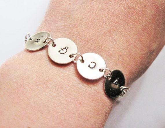 Personalized Initial Bracelet, Mother Bracelet, 4 Initials Bracelet, Monogram, Mom Bracelet, Initial Jewelry, four initials bracelet discs