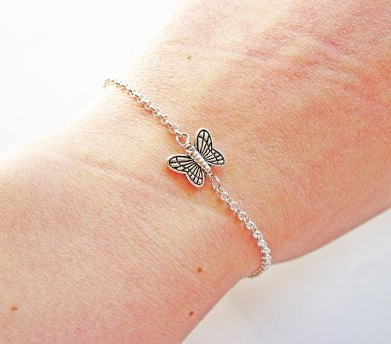 butterfly bracelet - dainty everyday jewelry, butterfly charm bracelet, tiny butterfly, tiny butterfly bracelet, tiny charm bracelet