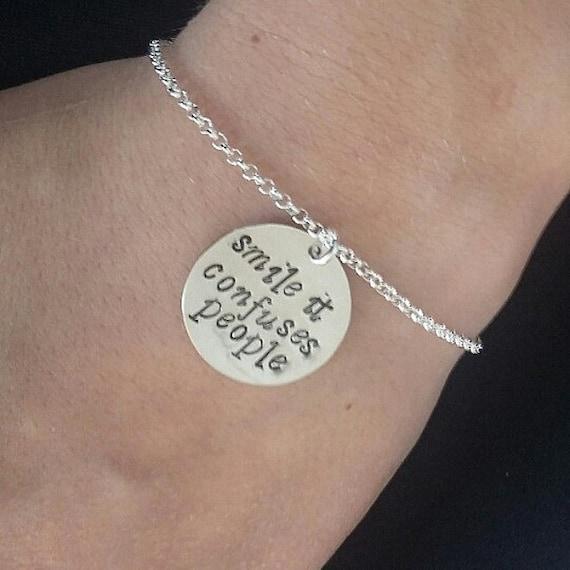 Quote bracelet, personalized bracelet, Charm bracelet, Handstamped bracelet, hand stamped bracelet, smile bracelet birthday gift best friend