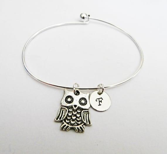 personalized bracelet, personalized owl bracelet, owl bangle bracelet, owl lover gift, silver charm bracelet, openable bracelet initial