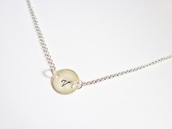 Custom Monogram Initial Necklace, Disc Charm silver Necklace, simple daily jewelry, Birthday, Bridesmaid, Valentine Gifts, one disc, 1 charm
