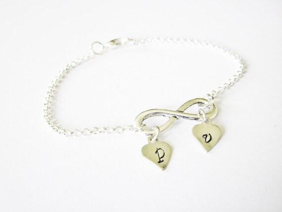 Infinity Bracelet Initials, Initial Bracelet, Mom Bracelet, Infinity Jewelry, initials charm, two initials, 2 initials bracelet, mother of 2