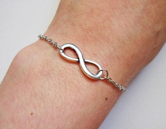 Infinity bracelet, eternity bracelet, silver infinity bracelet, karma bracelet, double circle bracelet, good karma bracelet, silver chain