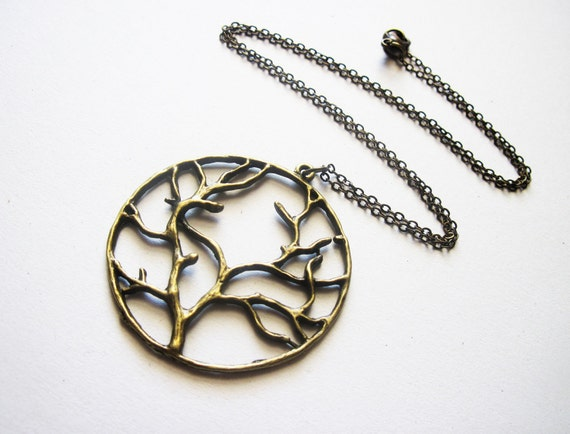 Tree of Life Necklace, Tree of Life pendant on brass Chain, Tree of Life Jewelry, Big Tree of Life Necklace, Long Necklace, yggdrasil