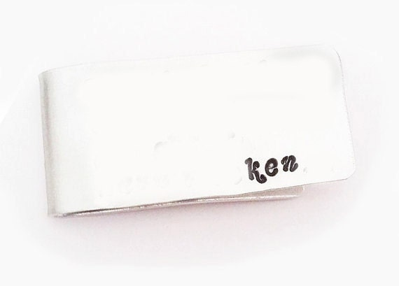 Personalized Money Clip, Father of the Bride, Grandpa Gift, Wedding Favor, Handstamped money clip, custom initials hand stamped gift for him