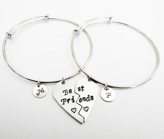 Broken Heart Friendship Bangle Bracelet Set 2 Best Friend Etsy