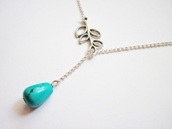 Branch with Turquoise Drop Lariat Necklace, Leaves Branch Blue Teardrop on Sterling Silver Chain, bridesmaid gift, bridal, anniversary