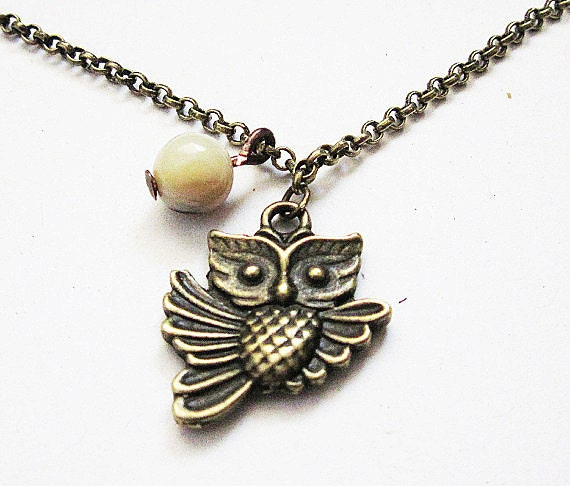 Brass Owl Necklace, Owl Pendant, Owl Charm Necklace, White Opal, Woodland Creatures, Owl Jewelry, Flying Owl Necklace, owl jewellery, brown