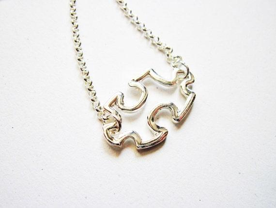 Puzzle necklace, silver puzzle necklace, puzzle piece necklace, autism awareness, jigsaw puzzle necklace, jig saw puzzle necklace, simple