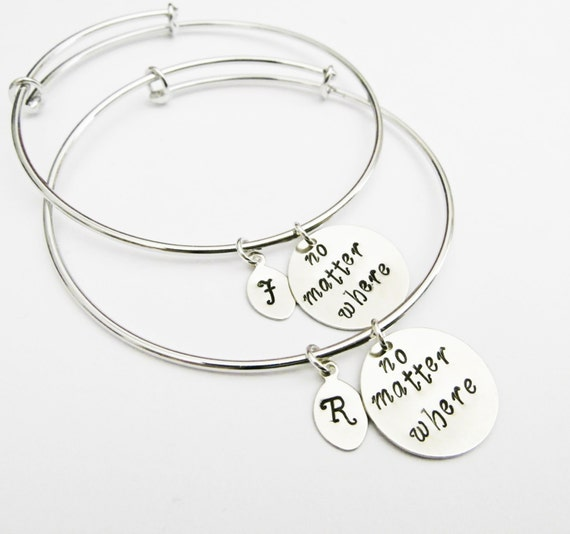 Personalized Best Friends Bangle Bracelet Set 2 Friendship Bracelets, Friendship Jewelry, Gift Best Friend Jewelry, no matter where, initial