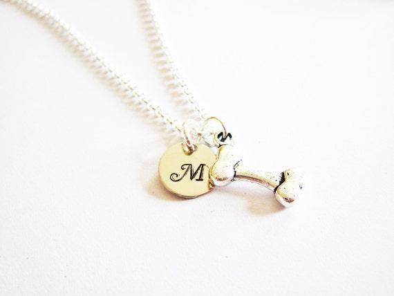 Bone Initial Necklace, Dog Bone Necklace, Dog Remembrance Necklace, Dog Memorial Necklace, Pet Necklace, Pet Jewelry, personalized initial