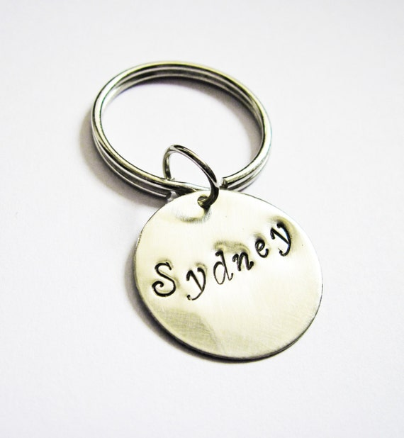 Personalized Name Keychain, Father's Day Mother's Day Gift, Hand Stamped Keychain, Metal Accessory, Unisex Gift, seven eight disc, dog tag