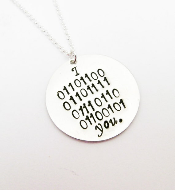 I love you in Binary Code Necklace, Personalized hand stamped silver necklace, Geekery, Geek, HandStamped, programmer, computer tech, it www