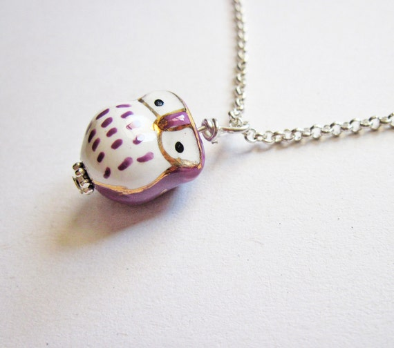 Owl Necklace, Owl Pendant, Owl Jewelry, pendant Necklace, Owl Bead, Lovely Owl Necklace, handmade necklace, owl pendant, ceramic owl, purple